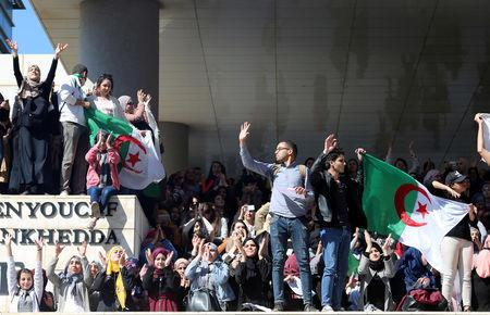 FILE PHOTO: Students protest against Abdelaziz Bouteflika's plan to extend his 20-year rule by seeking a fifth term in April elections, at a university in Algiers, Algeria, March 3, 2019. REUTERS/Ramzi Boudina