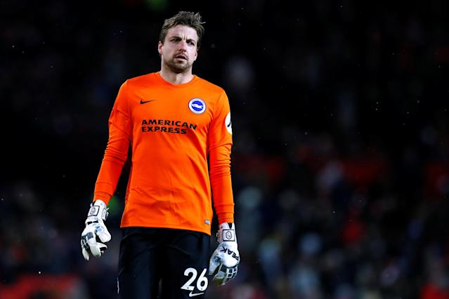 Soccer Football - FA Cup Quarter Final - Manchester United vs Brighton & Hove Albion - Old Trafford, Manchester, Britain - March 17, 2018 Brighton's Tim Krul looks dejected after the match Action Images via Reuters/Jason Cairnduff