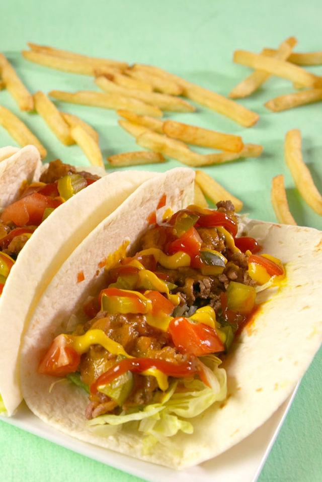 "<p>Everyones two greatest loves.</p><p>Get the recipe from <a rel=""nofollow"" href=""http://www.delish.com/cooking/recipe-ideas/recipes/a56688/cheeseburger-tacos-recipe/"">Delish</a>.</p><p><strong><em>BUY NOW: Le Creuset Cast Iron Skillet, $139.95, <a rel=""nofollow"" href=""https://www.amazon.com/Creuset-Enameled-Cast-Iron-9-Inch-Skillet/dp/B00005QFSP/?tag=syndication-20&&ascsubtag=[artid"">amazon.com</a>.</em></strong></p>"