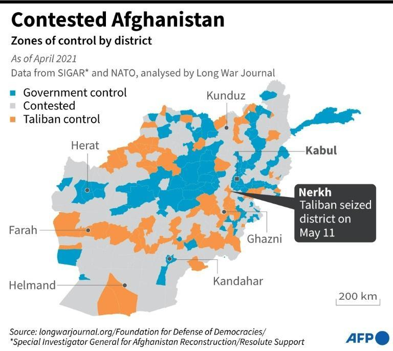 Map showing parts of Afghanistan currently under government control and territories under the influence of the Taliban, including Nerkh, seized by the insurgents on May 11, 2021