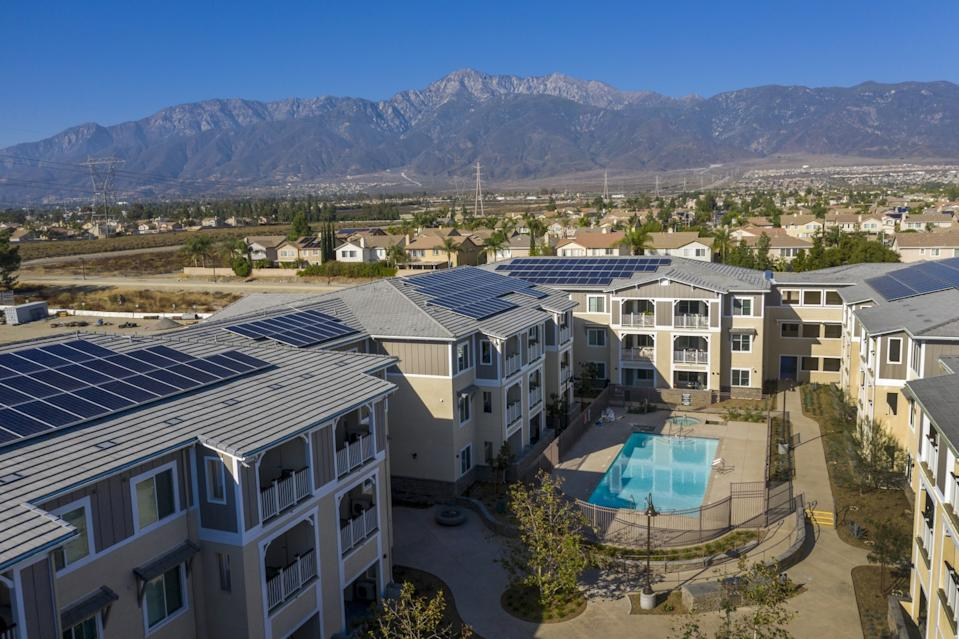 An aerial view of Day Creek Villas, a zero-net-energy housing development in Rancho Cucamonga.
