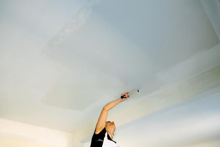 Prep your ceiling before painting by sanding and priming.