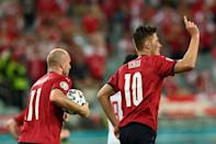 High five: Patrik Schick (right) scored his fifth goal of Euro 2020 to tie Cristiano Ronaldo in the fight for the Golden Boot
