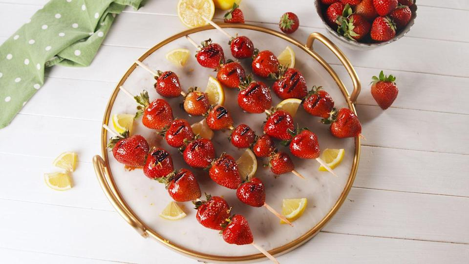 """<p>Perfect on strawberry shortcake!</p><p>Get the recipe from <a href=""""https://www.delish.com/cooking/recipe-ideas/a21649605/grilled-strawberries-recipe/"""" rel=""""nofollow noopener"""" target=""""_blank"""" data-ylk=""""slk:Delish"""" class=""""link rapid-noclick-resp"""">Delish</a>.</p>"""