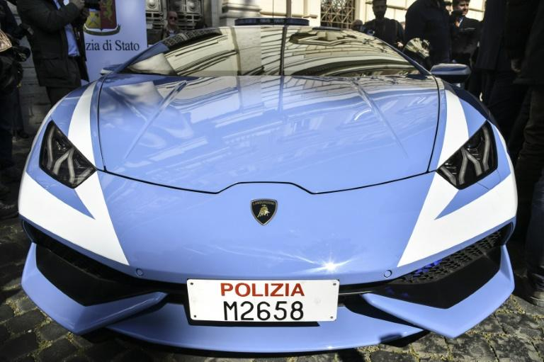 A picture shows the front of the Italian police's new car -- a  Lamborghini Huracan with a top speed of 300kmh