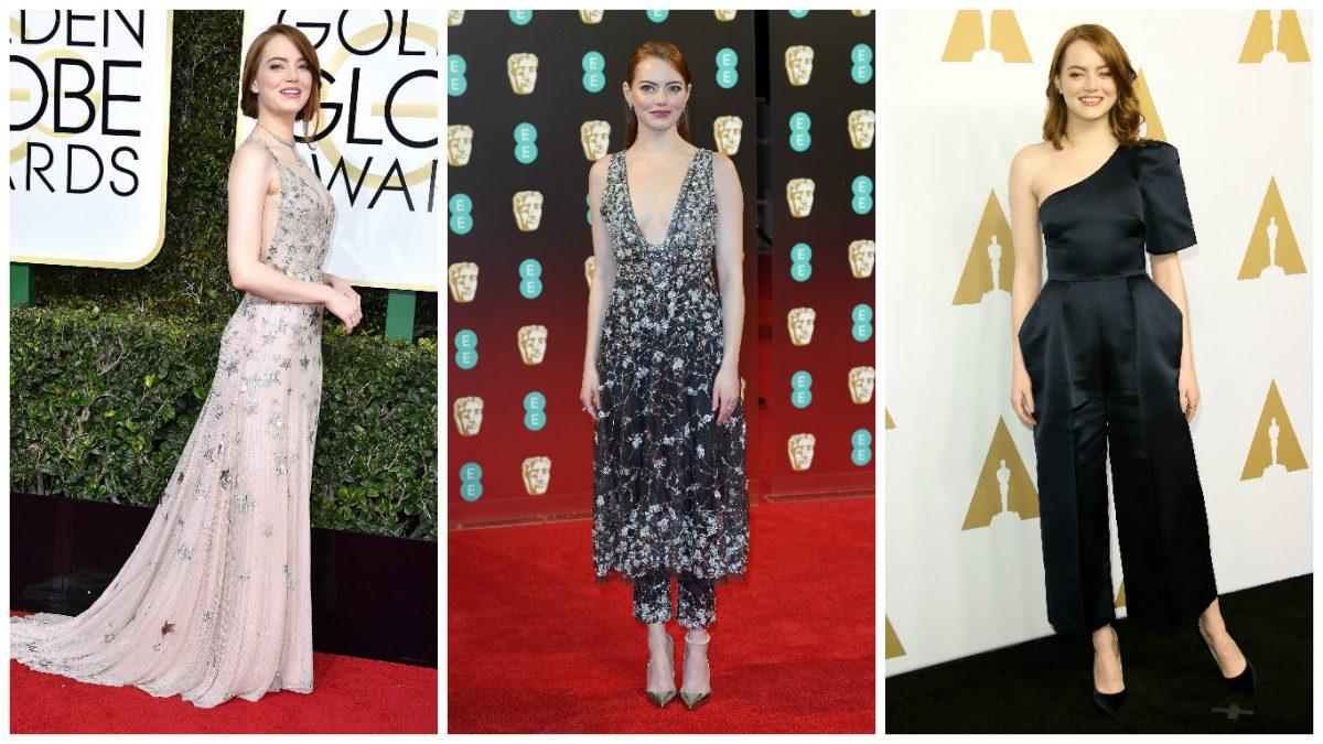 <p>La La Land actress Emma Stone is the darling of awards season 2017 and the best actress Oscar is almost a dead cert, so what should she wear for her moment of glory? Plunging gowns featuring whimsical embroidery by the likes of Valentino, Chanel and McQueen have been her go-to so far. </p>