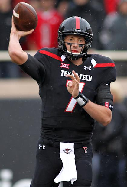 Oct 18, 2014; Lubbock, TX, USA; Texas Tech Red Raiders quarterback Davis Webb (7) throws a pass against the Kansas Jayhawks. (Michael C. Johnson-USA TODAY Sports)