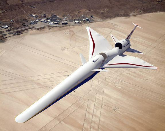 A conception of NASA's quiet boom supersonic plane, flying over NASA's Armstrong Flight Research Center in California