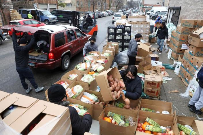 Food is distributed at the nonprofit New Life Centers' food pantry in Chicago