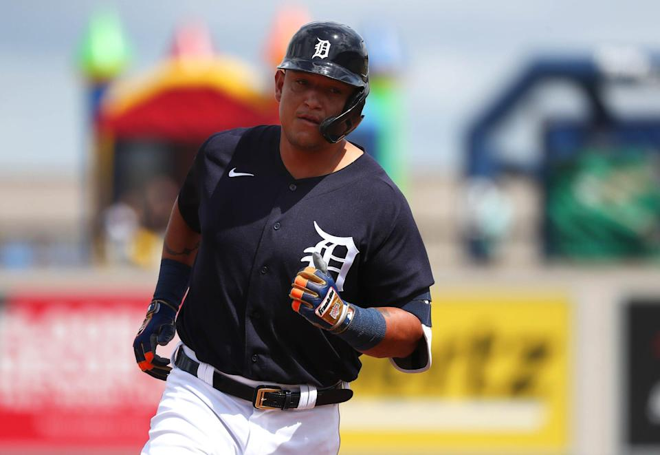 Tigers designated hitter Miguel Cabrera rounds the bases on his solo home run during the second inning against the Yankees in the 15-11 exhibition win on Thursday, March 5, 2020, at Publix Field at Joker Marchant Stadium.