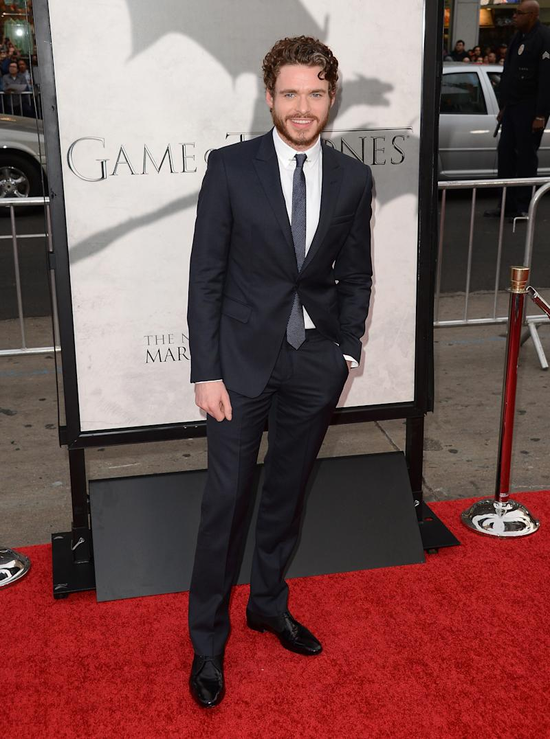 Richard Madden, who played the late Robb Stark, at the premiere of Game of Thrones season three in Hollywood, California, March 2013.