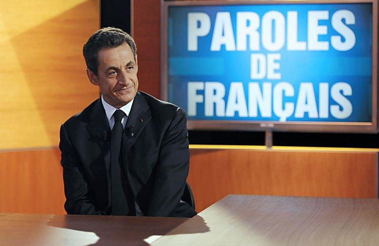 Nicolas Sarkozy takes questions in a live broadcast at French TF1 television studios in Paris