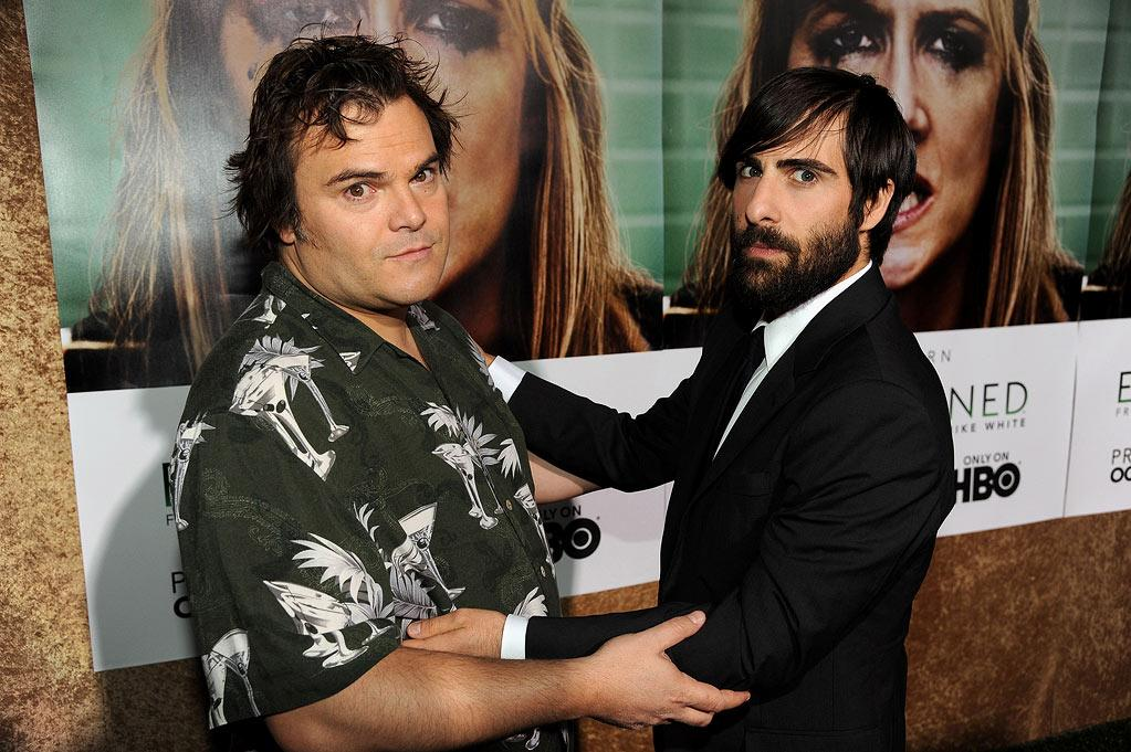 """<a href=""""/jack-black/contributor/31171"""">Jack Black</a> and <a href=""""/jason-schwartzman/contributor/30609"""">Jason Schwartzman</a> arrive at the premiere of HBO's """"<a href=""""/enlightened/show/46295"""">Enlightened</a>"""" at Paramount Theater on October 6, 2011 in Hollywood, California."""
