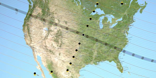 united states august 2017 total solar eclipse times locations map nasa