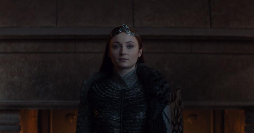 """She's the queen that was promised.<br /><br />Sansa (Sophie Turner) knew what she was doing when she revealed the truth about Jon's parentage to Tyrion in Episode 4. The information spread like dragon fire in King's Landing and eventually caused the downfall of Daenerys Targaryen, putting the Starks in control of Westeros.<br /><br />Now, after eight seasons of being beaten, broken and ignored at every turn, Sansa ended """"Game of Thrones"""" as the ruler in the North, now an independent kingdom. <br /><br />For Northerners, lemon cakes are coming."""