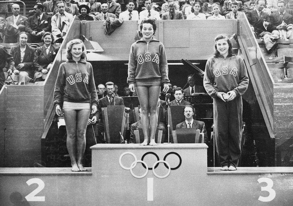 <p>During the first Olympic games that were held after World War II, the United States swept the podium for the women's springboard diving competition, winning all three medals.</p>