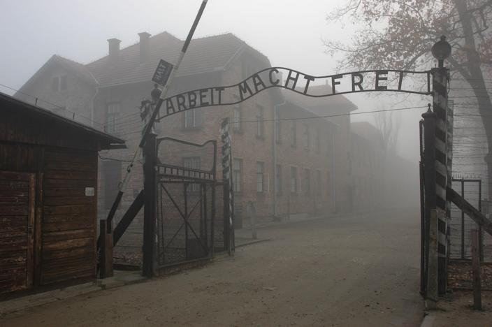 The entrance to Auschwitz concentration camp in Oswiecim, Poland.