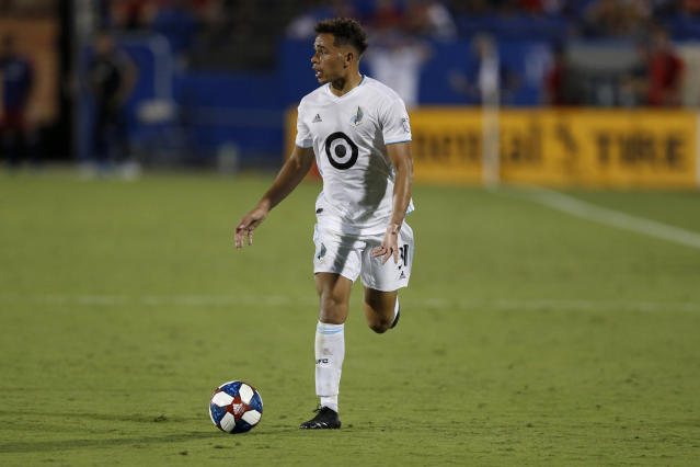 Minnesota United midfielder Hassani Dotson advances the ball during the second half of an MLS soccer match against FC Dallas in Frisco, Texas, Saturday, Aug. 10, 2019. FC Dallas beat Minnesota United 5-3. (AP Photo/Roger Steinman)