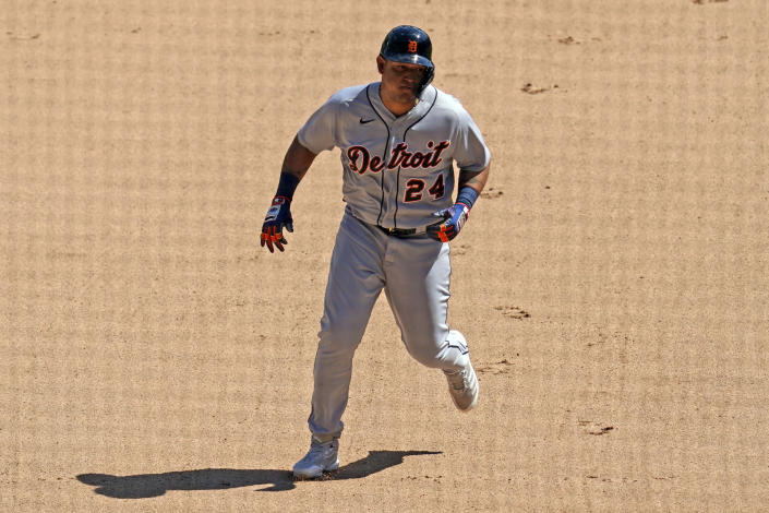 Detroit Tigers' Miguel Cabrera rounds the bases after hitting a solo home run during the sixth inning of a baseball game against the Chicago White Sox in Chicago, Saturday, June 5, 2021. (AP Photo/Nam Y. Huh)