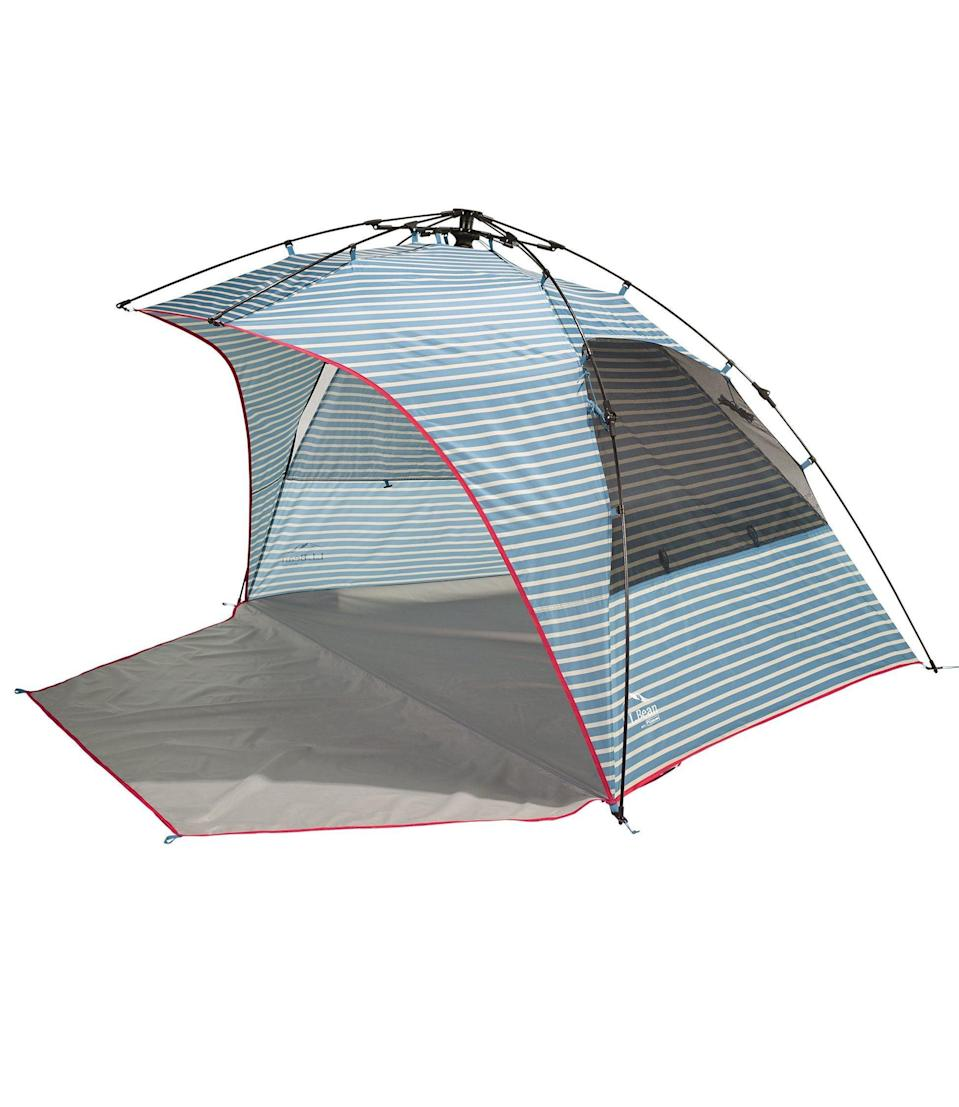 """<h2>L.L.Bean Sunbuster Folding Shelter</h2><br>We'd say the best feature of this pop-up shelter is how quickly you can set it up (it takes literal seconds), but then we discovered the nylon pockets along the perimeter can be filled with sand to hold the tent in place. Anyone who has known the embarrassment of chasing down a flyaway beach tent or umbrella all the way across the sand bar knows just how helpful that can be.<br><br><em><strong>Shop <a href=""""https://www.llbean.com"""" rel=""""nofollow noopener"""" target=""""_blank"""" data-ylk=""""slk:L.L.Bean"""" class=""""link rapid-noclick-resp"""">L.L.Bean</a></strong></em><br><br><strong>L.L. Bean</strong> Sunbuster Folding Shelter, $, available at <a href=""""https://go.skimresources.com/?id=30283X879131&url=https%3A%2F%2Fwww.llbean.com%2Fllb%2Fshop%2F121281%3Fpage%3Dsunbuster-shelter-print%26bc%3D%26feat%3Dbeach%2520tent-SR0%26csp%3Da%26searchTerm%3Dbeach%2520tent%26pos%3D2"""" rel=""""nofollow noopener"""" target=""""_blank"""" data-ylk=""""slk:L.L. Bean"""" class=""""link rapid-noclick-resp"""">L.L. Bean</a>"""