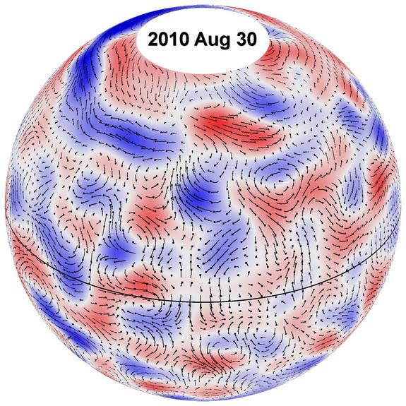 This image shows the paths of giant cell flows on the sun for Aug. 30, 2010. The underlying cell pattern shows westerly winds in red and easterly winds in blue