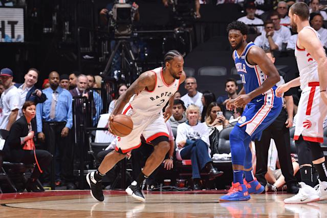 "<a class=""link rapid-noclick-resp"" href=""/nba/players/4896/"" data-ylk=""slk:Kawhi Leonard"">Kawhi Leonard</a> led the charge for the <a class=""link rapid-noclick-resp"" href=""/nba/teams/toronto/"" data-ylk=""slk:Raptors"">Raptors</a> in their Game 1 victory over the <a class=""link rapid-noclick-resp"" href=""/nba/teams/philadelphia/"" data-ylk=""slk:Sixers"">Sixers</a>. (Getty Images)"