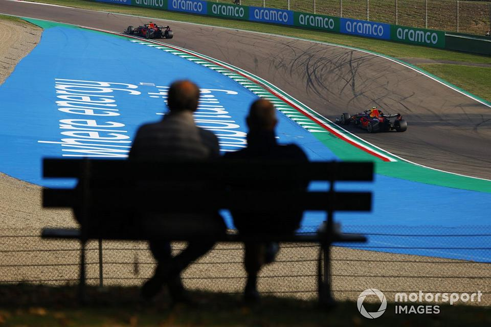 """Max Verstappen, Red Bull Racing RB16, Alex Albon, Red Bull Racing RB16<span class=""""copyright"""">Andy Hone / Motorsport Images</span>"""