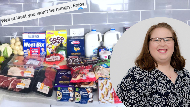 "Pictured: Rachael Hallett and picture of her ""criminal"" shopping haul from Woolworths and Coles. Images: Supplied, Facebook (Mums Who Budget & Save)"