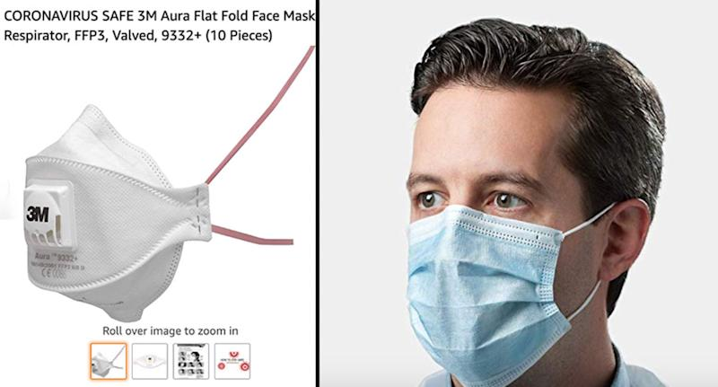 """Coronavirus face masks"" offered by third party sellers on Amazon."