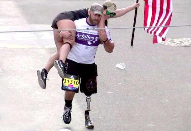 Earl Granville carried a woman on his back during the Boston Marathon