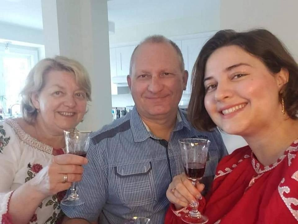 Anastasia Gromova with her parents on Orthodox Easter this year. She ordered a dress from Ukraine and cooked traditional food for her family.