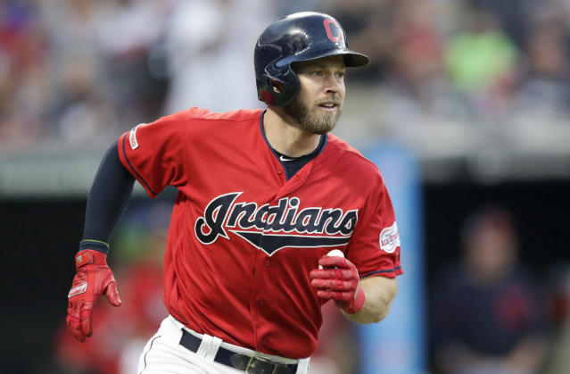 Cleveland Indians' Mike Freeman watches his ball after hitting a solo home run in the fifth inning in a baseball game against the Kansas City Royals, Tuesday, June 25, 2019, in Cleveland. (AP Photo/Tony Dejak)