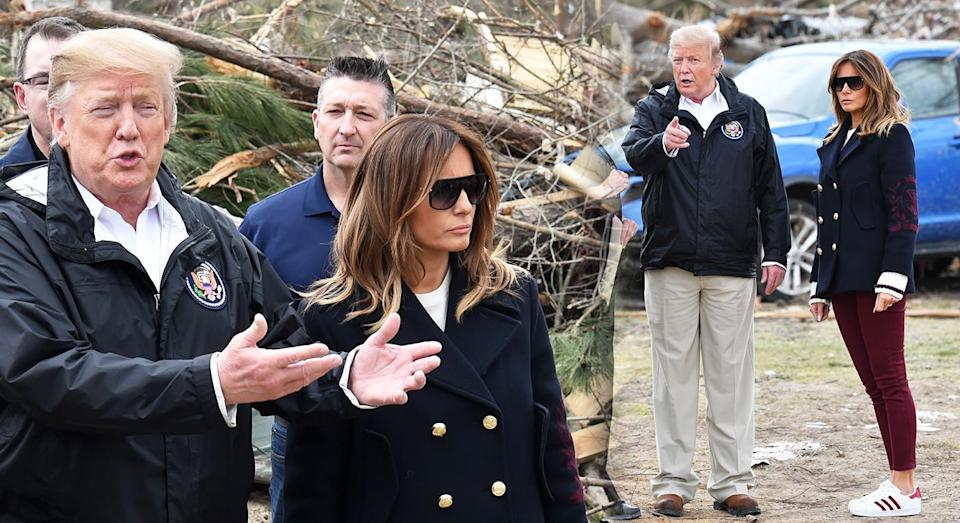 """The """"Fake Melania"""" theory was revived after the couple were pictured in Georgia, US. [Photo: Getty]"""