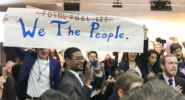 Protesters interrupt a U.S. government pro-coal event during the United Nations Climate Change Conference in Bonn, Germany.
