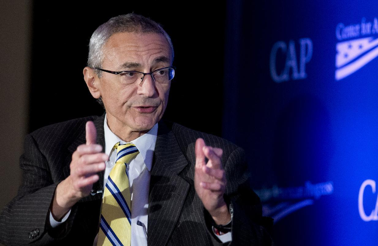 FILE - In this Nov. 19, 2014 file photo, Counselor to the President John Podesta speaks in Washington, Wednesday, Nov. 19, 2014. In the year that will pass before the 2016 campaign for president formally kicks off with the votes in the Iowa Caucus, any number of candidates, donors, political operatives — and people who have nothing to do with American politics — will shape the race for the White House. (AP Photo/Manuel Balce Ceneta, File)