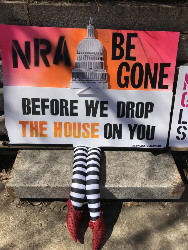 One of Gays Against Guns' clever signs in D.C. (Photo: Beth Greenfield for Yahoo Lifestyle)