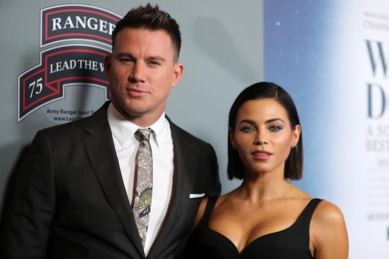 """Channing Tatum and Jenna Dewan Tatum arrive at the premiere of """"War Dog: A Soldier's Best Friend"""" in Los Angeles on Nov. 6, 2017. (Photo: Mike Blake / Reuters)"""