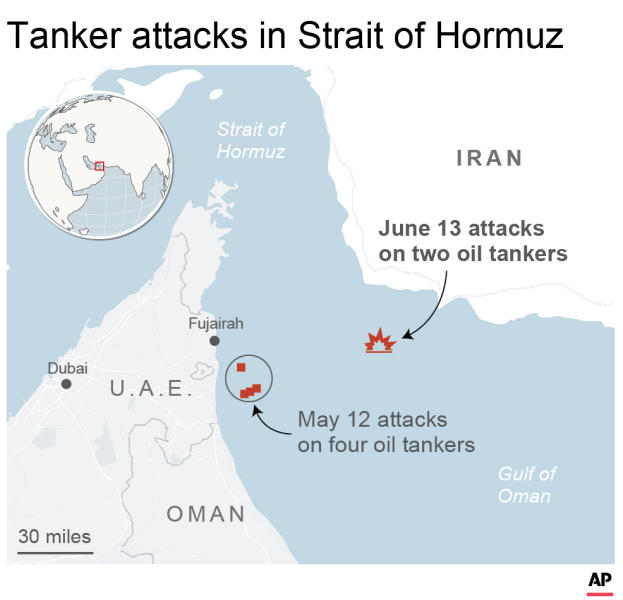 Map locates recent attacks on oil tankers in the Strait of Hormuz; 2c x 3 1/4 inches; 96.3 mm x 82 mm;