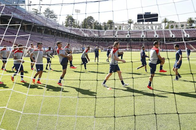 United States men's national team soccer warms up during a training session on Wednesday, May 14, 2014, Stanford, Calif. The US national soccer team kicked off its preparation camp at Stanford University preparing for the World Cup tournament, which gets underway in June. (AP Photo/Tony Avelar)