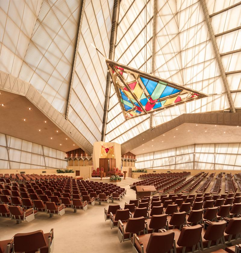 A look inside the synagogue, which was designed with a fiberglass ceiling that glows from within both day and night.