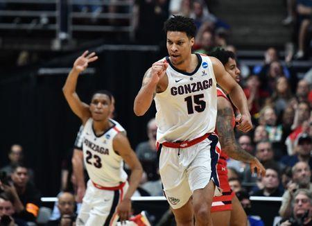 FILE PHOTO: March 30, 2019; Anaheim, CA, USA; Gonzaga Bulldogs forward Brandon Clarke (15) and guard Zach Norvell Jr. (23) react after a three point basket against the Texas Tech Red Raiders during the first half in the championship game of the west regional of the 2019 NCAA Tournament at Honda Center. Mandatory Credit: Robert Hanashiro-USA TODAY Sports