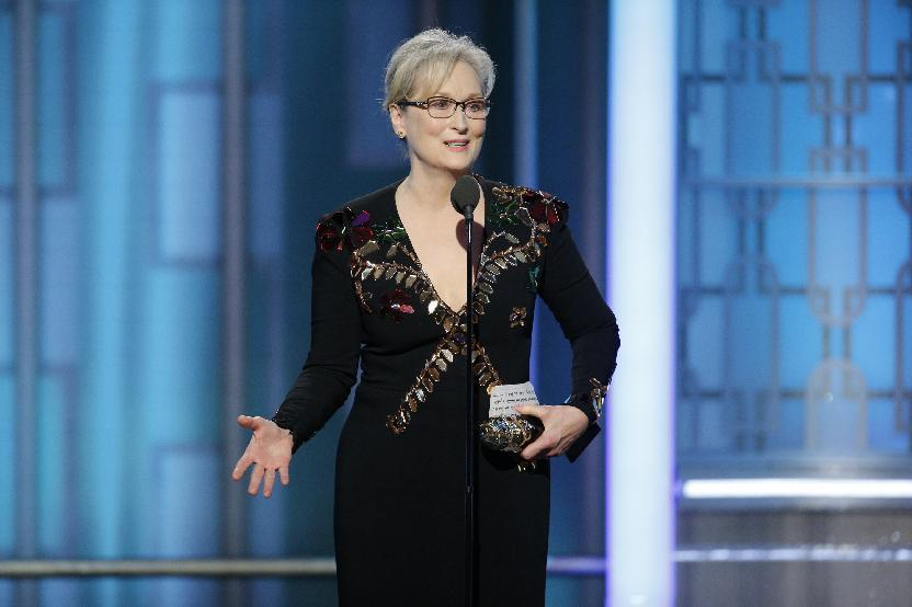 FILE - This Jan. 8, 2017 file image released by NBC shows Meryl Streep accepting the Cecil B. DeMille Award at the 74th Annual Golden Globe Awards in Beverly Hills, Calif. Streep, who gave an impassioned speech at the Golden Globes criticizing President-elect Donald Trump for mocking a disabled reporter and calling for the defense of a free press, will be honored for a career of advocating for LGBTQ equality on Feb. 11, by the Human Rights Campaign, the LGBTQ civil rights organization. (Paul Drinkwater/NBC via AP, File)