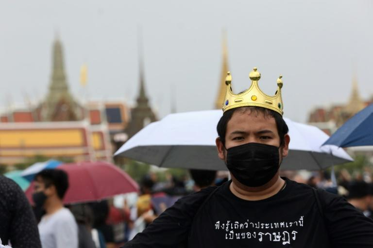 A pro-democracy protester wears a fake crown and a shirt that reads 'please realise this country belongs to the people' during the anti-government rally in Bangkok