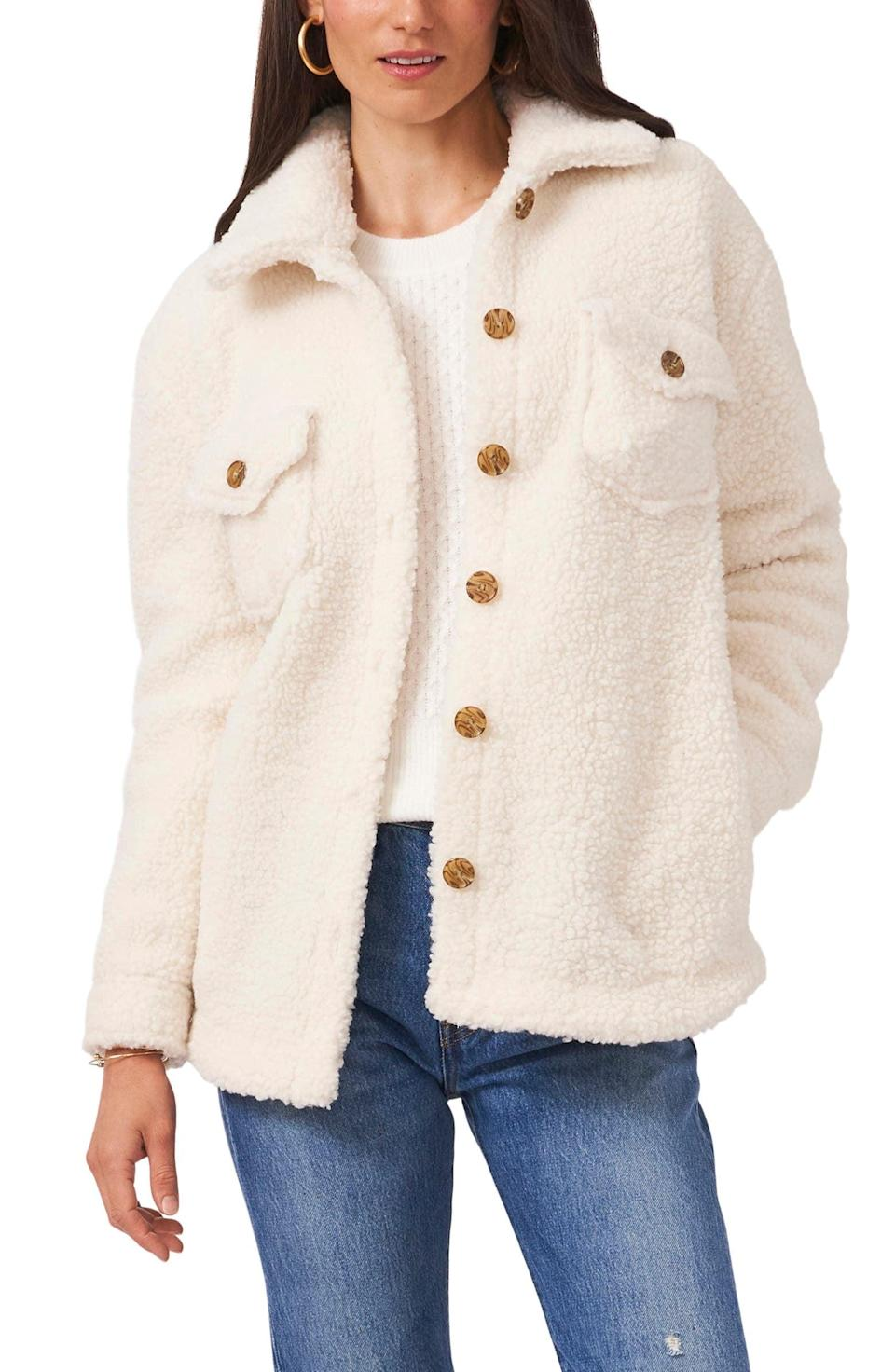 <p>As temperatures start to dip, you'll quickly become best friends with this <span>1.State Faux Shearling Shirt Jacket</span> ($139). The neutral color makes it easy to style.</p>