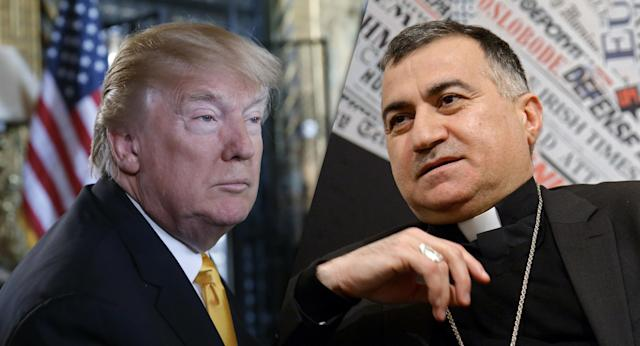 President Trump and the Chaldean archbishop of Erbil in Iraqi Kurdistan, Monsignor Bashar Warda (Photos: Alex Brandon/AP, Filippo Monteforte/AFP/Getty Images)