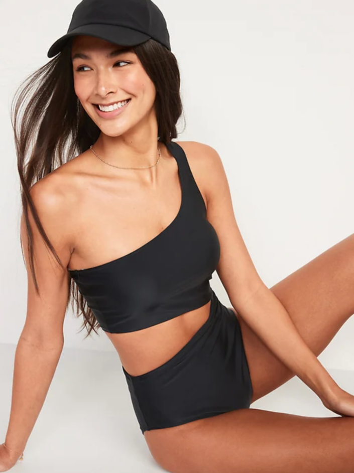 Old Navy One-Shoulder Side-Cutout One-Piece Swimsuit in Ebony (Photo via Old Navy)