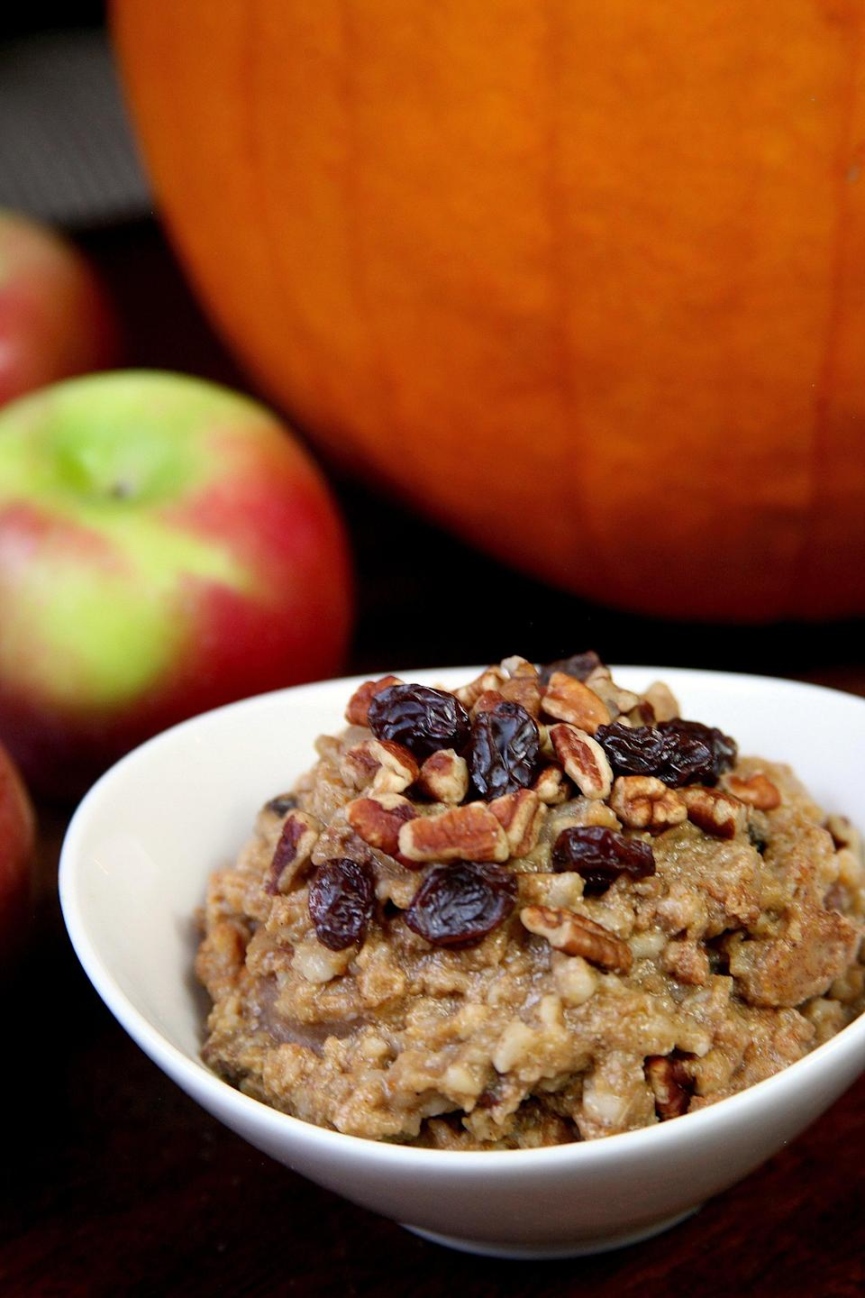 <p>To add natural sweetness and a creamy texture, add a few frozen discs of Trader Joe's Mashed Sweet Potatoes while cooking your oatmeal, or add them to your jar of overnight oats. </p>