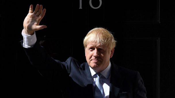 PHOTO: Britain's new Prime Minister Boris Johnson gestures after giving a speech outside 10 Downing Street in London on July 24, 2019 on the day he was formally appointed British prime minister. (Ben Stansall/AFP/Getty Images)