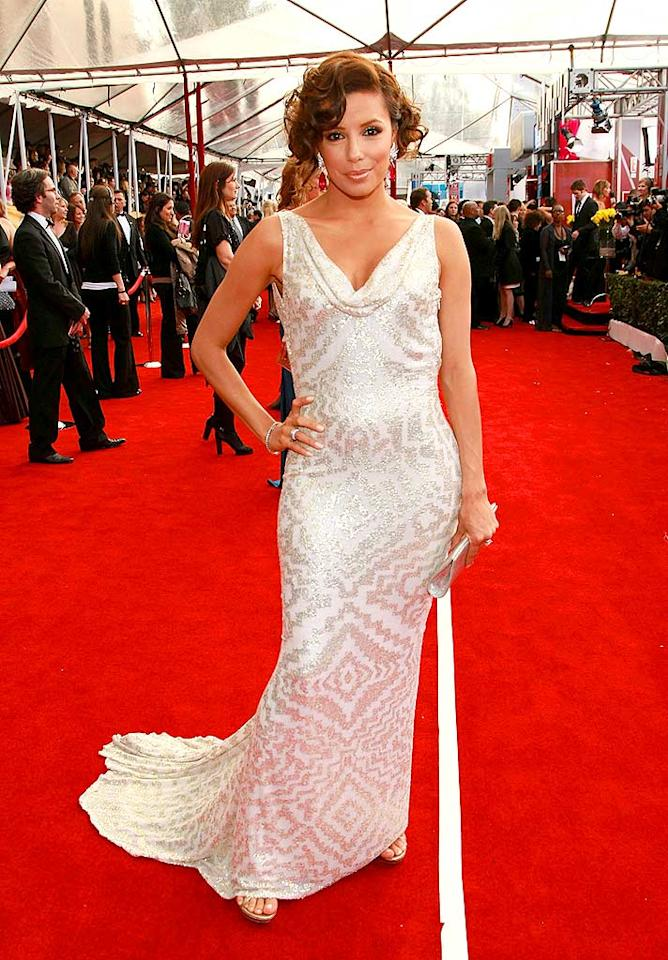 "We're hypnotized by Eva Longoria's white and silver dress, but not in a good way. Dimitrios Kambouris/<a href=""http://www.wireimage.com"" target=""new"">WireImage.com</a> - January 27, 2008"