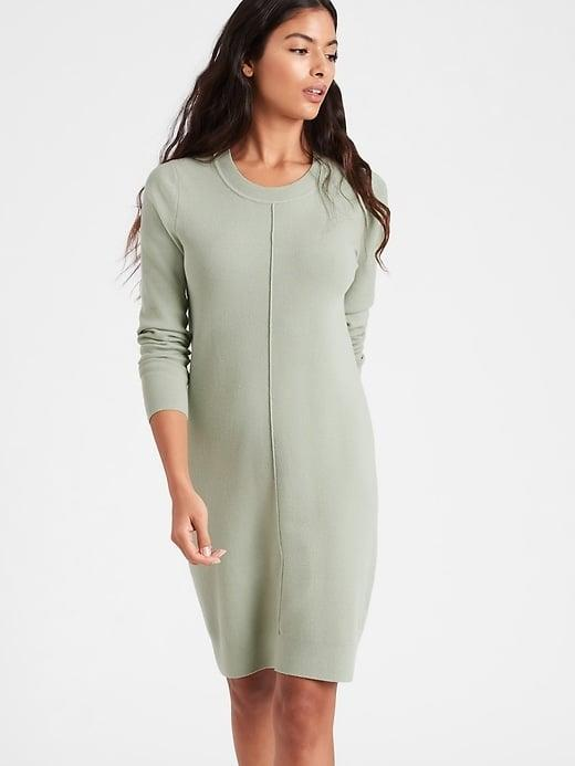 <p>A sweater dress like this <span>Banana Republic Sweater Shift Dress</span> ($69, originally $139) is so comfy when working from home.</p>